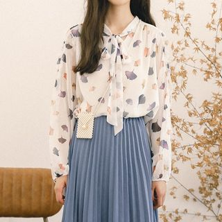 Leaf Print Chiffon Blouse from Lady Jean