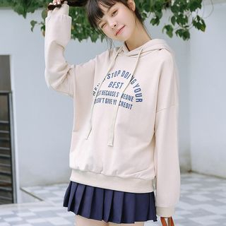 Letter Hoodie Khaki - One Size from Lady Jean