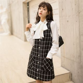 Long-Sleeve Bow Accent Blouse / Tweed Mini Pinafore Dress from Lady Jean