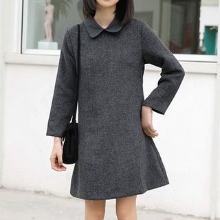 Long-Sleeve Herringbone Mini Collared Dress from Lady Jean