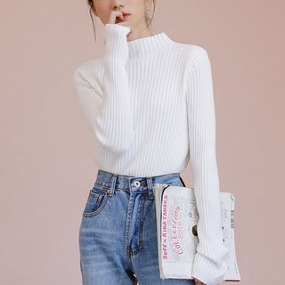 Long-Sleeve Mock-Neck Knit Top from Lady Jean