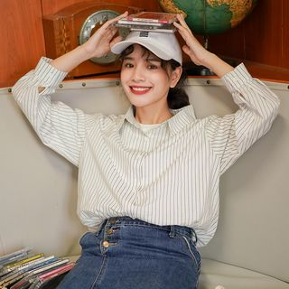 Long-Sleeve Striped Shirt Stripe - White - One Size from Lady Jean