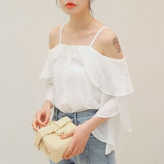 Off Shoulder Chiffon Blouse from Lady Jean