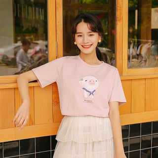 Piggy Short-Sleeve T-Shirt from Lady Jean