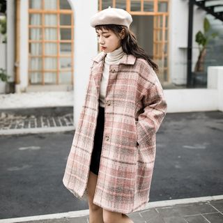 Plaid Button Coat from Lady Jean