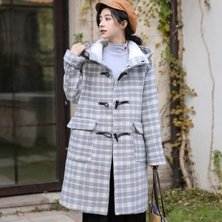Plaid Hooded Toggle Coat from Lady Jean