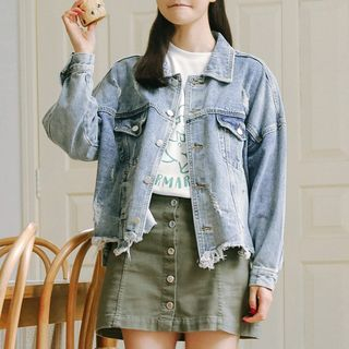 Ripped Denim Jacket from Lady Jean