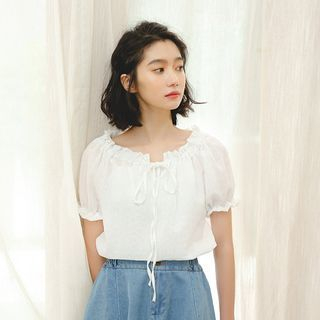 Short-Sleeve Chiffon Top from Lady Jean