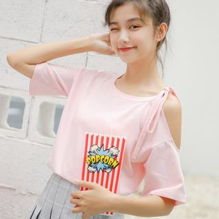 Short-Sleeve Cold-Shoulder T-Shirt from Lady Jean