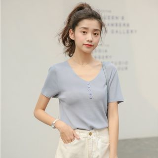Short-Sleeve Knit Top from Lady Jean