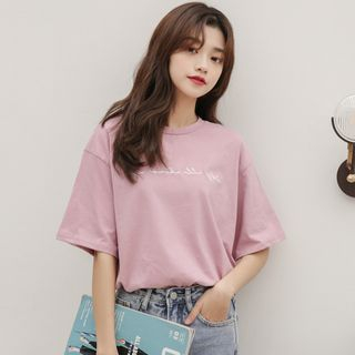 Short-Sleeve Letter T-Shirt from Lady Jean