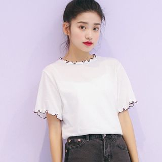 Short-Sleeve Lettuce Edge T-Shirt from Lady Jean