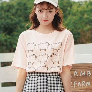 Short-Sleeve Sheep Print T-Shirt from Lady Jean