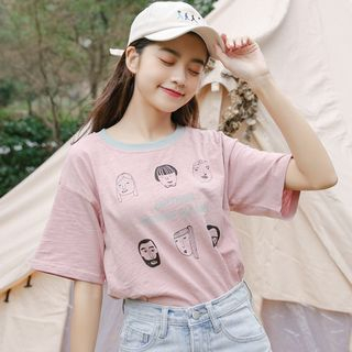 Short-Sleeve face Print T-Shirt from Lady Jean