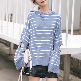 Striped Cut-Out Hooded Sweater from Lady Jean