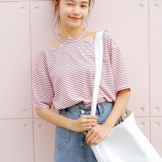 Striped Short-Sleeve Cut Out T-Shirt from Lady Jean