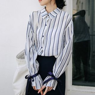 Tie-Cuff Striped Shirt from Lady Jean