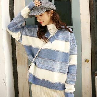 V-Neck Color Block Sweater from Lady Jean