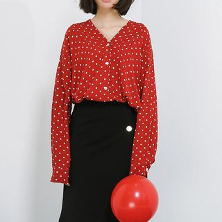 V-Neck Dotted Blouse from Lady Jean