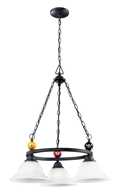 Landmark 66203-3 Billiards (Section) Matte Black Chandelier from Landmark Lighting