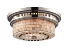 Landmark 66411-2 Chadwick Two Light Flush Mount in Polished Nickel and Cappa Shell from Landmark Lighting