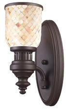 Landmark 66430-1 Chadwick One Light Sconce in Oiled Bronze and Cappa Shell from Landmark Lighting