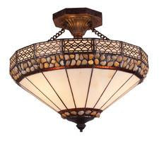 Landmark 70075-3 Stone Filigree Three Light Semi Flush in Burnished Copper from Landmark Lighting