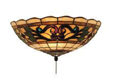 Landmark 990-E Tiffany Buckingham Two Light Fan Kit/Ceiling Mount in Vintage Antique with Tiffany Style Glass from Landmark Lighting
