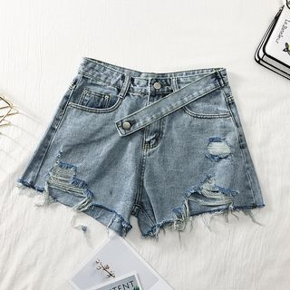 High-Waist Distressed Denim Shorts from Lemongrass