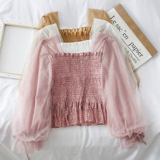 Lace-Trim Smocked Top from Lemongrass