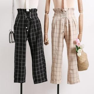 Lace-Up Plaid Cropped Pants from Lemongrass