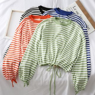 Loose-Fit Drawstring-Hem Striped Knit Top from Lemongrass
