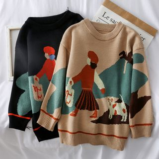Loose-Fit Printed Knit Sweater from Lemongrass