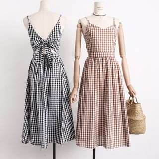 Spaghetti-Strap Tie-Back Gingham Sundress from Lemongrass