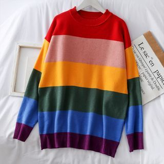 Rainbow-Stripe Loose-Fit Sweater Rainbow - One Size from Lemongrass