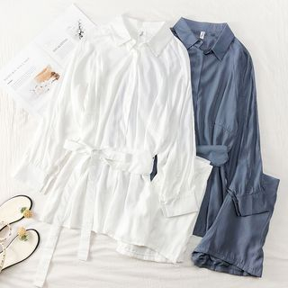 Set: Loose-Fit Plain Shirt with Sash + Shorts from Lemongrass