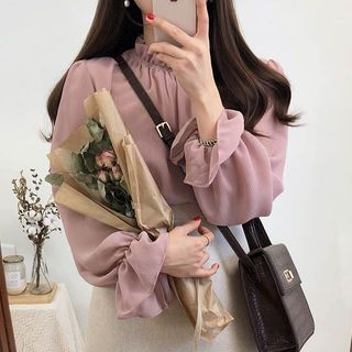 Bell-Sleeve Chiffon Blouse from Leoom