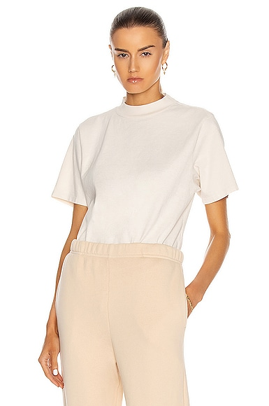 Les Tien Mock Neck Tee in Neutral from Les Tien