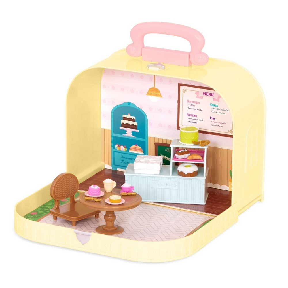 Li'l Woodzeez Toy Furniture Set in Carry Case 20pc - Travel Suitcase Pastry Shop Playset from Li'l Woodzeez