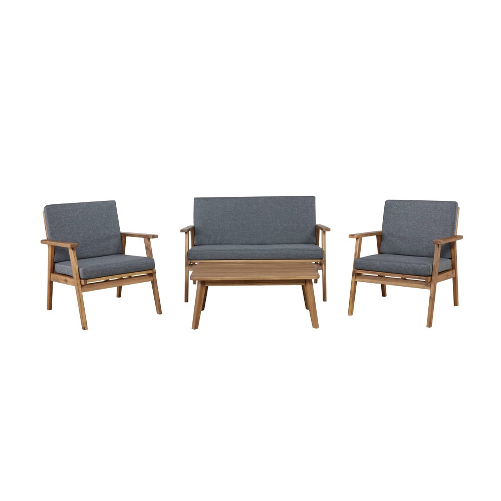 4pc Cole Outdoor Seating Set Gray - Linon from Linon