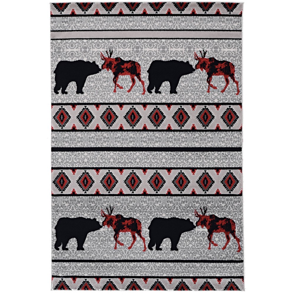 "5'x7'6"" Lodge Bellville Rug Gray/Black/Red - Linon from Linon"