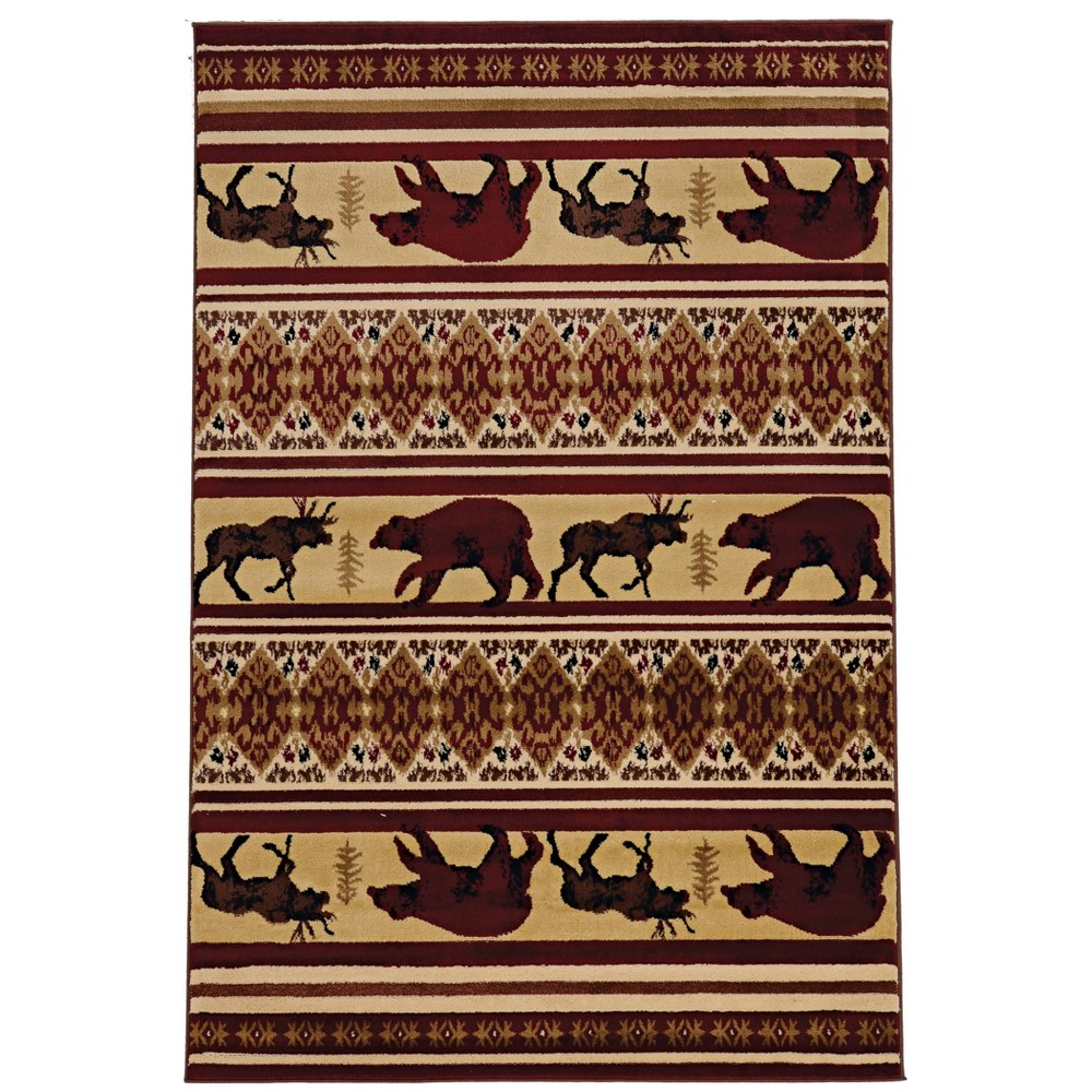 "5'x7'6"" Lodge Longmont Rug Beige/Brown - Linon from Linon"