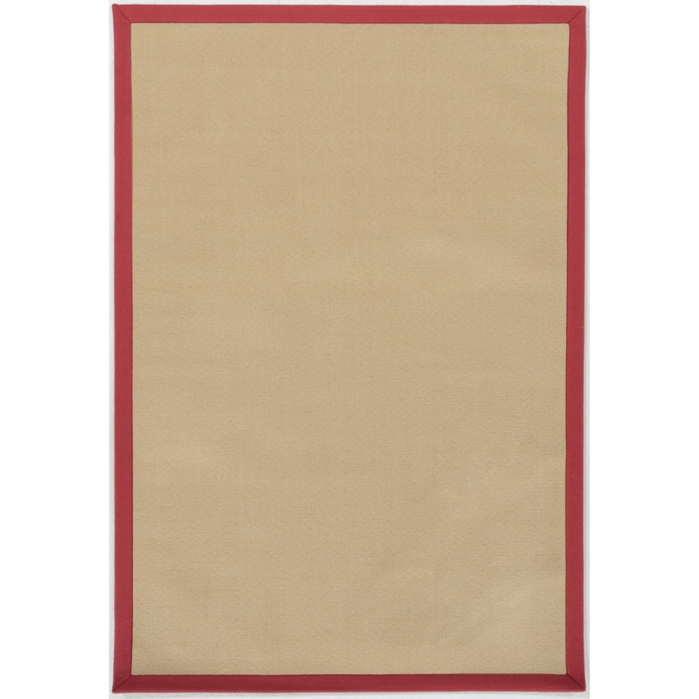 7'x9' Faux Sisal Rug Beige/Red - Linon from Linon