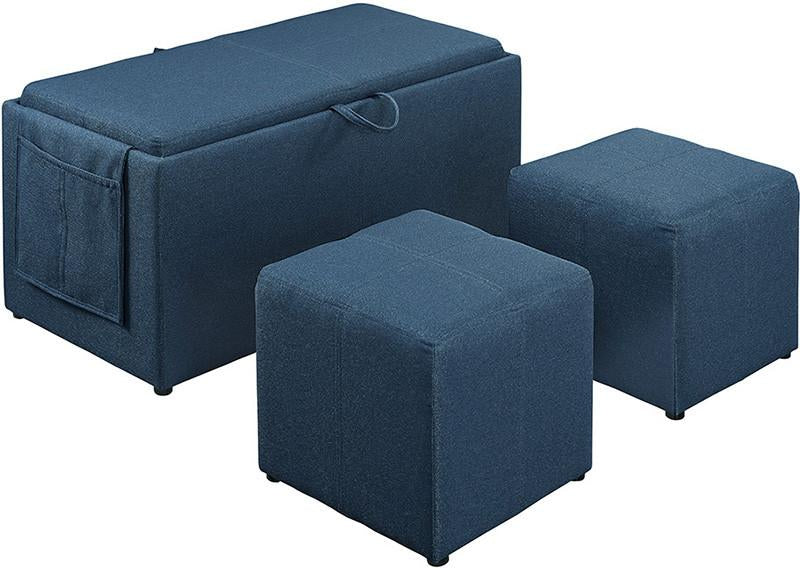 Linon 02238BLU01U Letty Lapis Blue Three Piece Ottoman from Linon