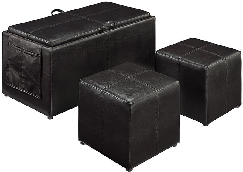Linon 02238BRN01U Letty Brown Three Piece Ottoman from Linon