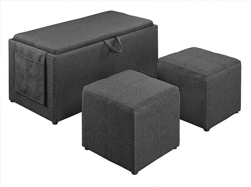 Linon 02238CHAR01U Letty Charcoal Three Piece Ottoman from Linon