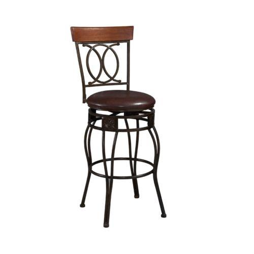 Linon 02565MTL-01-KD-U O & X Back Bar Stool from Linon