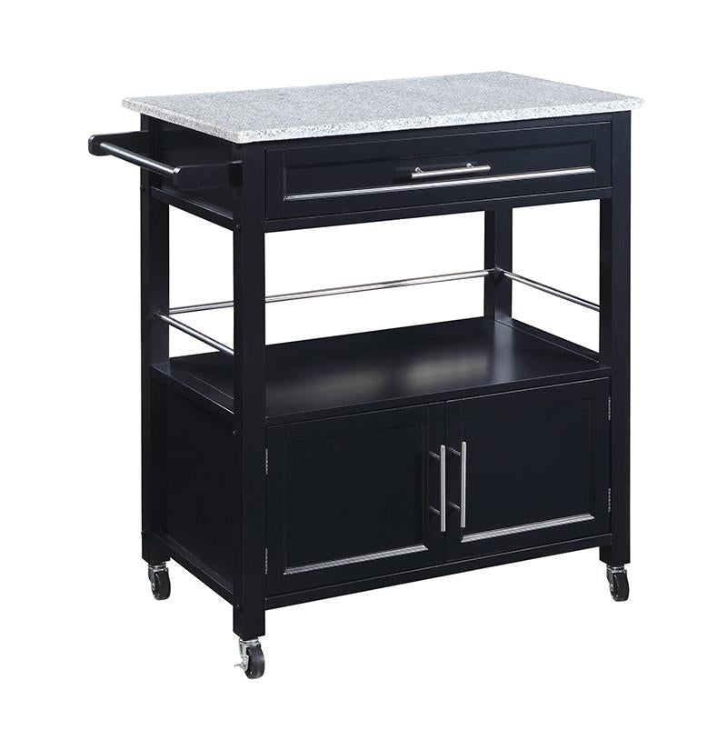 Linon 464809BLK01U Cameron Kitchen Cart with Granite Top from Linon