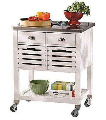 Linon 464810WHT01U Robbin Kitchen Cart from Linon