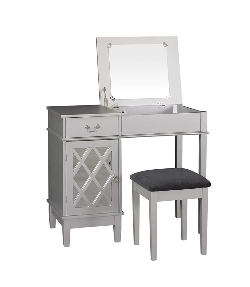 Linon 58036SIL-01-KD-U Lattice Vanity Set from Linon